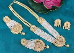 Designer Artificial White Pearl Necklace Set With Earrings