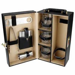 Black - 03 - Portable Leatherette Bar Set
