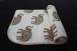 Elephant Printed Kantha Baby Quilt Razai