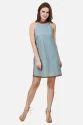 Designer Denim & Leather Mini Western Dress