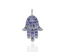 Blue Sapphire Gemstone Hamsa Pendant