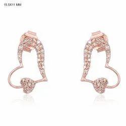 9K Rose Gold Designer Heart Stud Earrings