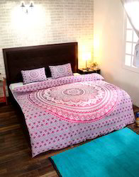 Mandala Printed Duvet Cover With Pink And White Pillow Cover
