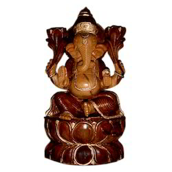 Wooden Kamal Ganesh With Black Finishing