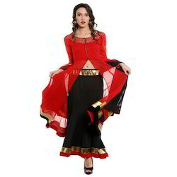 3Pcs-Set-Red-Lehenga-Top-And-Dupatta-With-Gold-Print