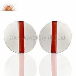 Round Design 925 Silver Gemstone Stud Earring