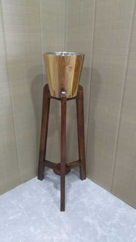 Bucket Teak Wood Wine Bucket And Babool Wood Stand With Stainless