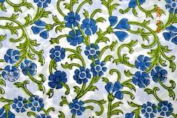 Hand Block Cotton Floral Printed Fabric Indian