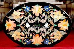 Oval Shape Marble Inlay Dining Table Top
