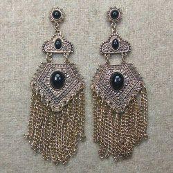 Gold plated tassel chain Long Earrings 70679