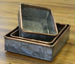 Galvanised Storage Trays W/ Copper Border ( Set Of 3)