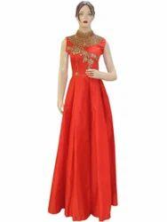 Party Wear Heavy Fancy Silk Red Fluffy Long Dress