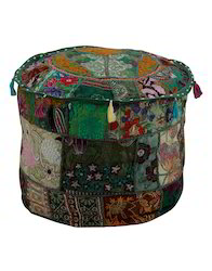 Round Floral Patchwork And Embroidered Upholstered Ottoman