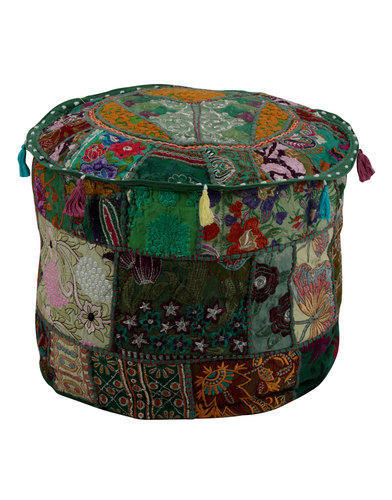 Patchwork & Embroidered Ottoman Pouf