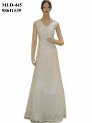 Latest Designer Net White Fluffy Long Dress Gown
