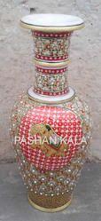 Marble Gold Work Vase