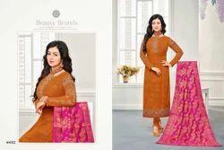Light Brown & Pink Georgette Embroidered Salwar Suit With Banarasi Dupatta