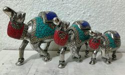 Metal Stone Work Camel Set