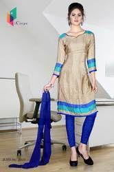 Beige and Blue Italian Crepe Uniform Salwar Kameez