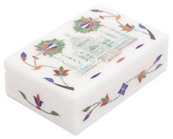 White Marble Inlay Taj Mahal Boxes