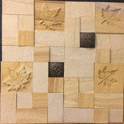 Teakwood Sandstone Wall Mosaic Tiles for Wall Cladding
