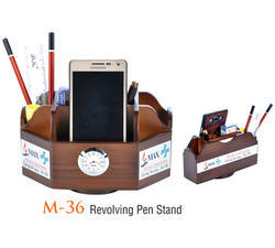Wooden Revolving Pen Stand