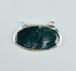 Moos Green Agate Oval Silver Electroplated Pendant