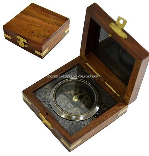Maritime Antiques Vintage Maritime Antique Brass Compass With Wooden Box Bright Luster