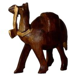 Wooden Black Finishing Camel Statue