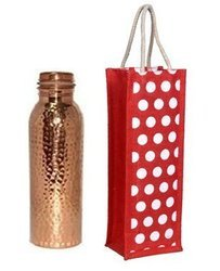 Copper Bottle with Bottle Jute Bag