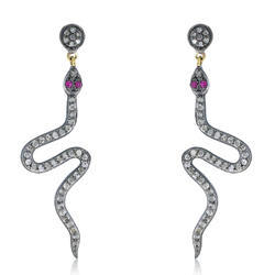 Natural Diamond Snake Dangle Earrings