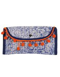 Blue Cotton Durrie Dyed Hand Pouch Bag