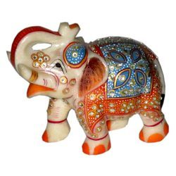 Marble Elephant With Painted Work