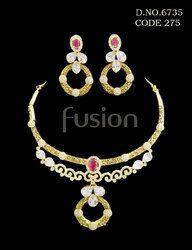 Ruby Stone Studded Necklace Set