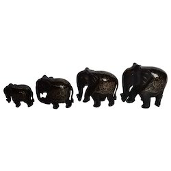 Wooden Elephant With Brass Work