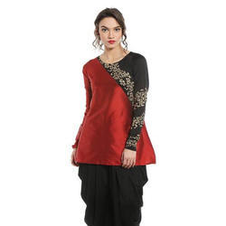 Ira-Soleil-Red-Cut-And-Sew-Tafetta-And-Polyknit-Kurti