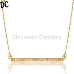 Gold Plated 925 Silver White Zircon Bar Necklace