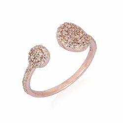 Pave Diamond Gold Round Cuff Ring