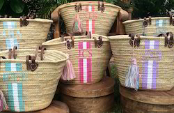 Round Wooden Handle Jute Beach Bags