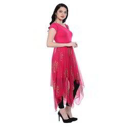Ira-Soleil-Pink-Long-A-Symetrical-Hem-Kurti-With-Copper