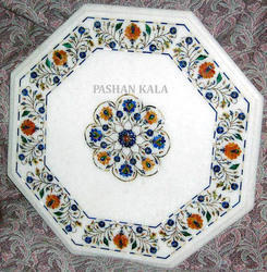 Semi Precious White Marble Inlay Table Top