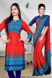 Blue and Red Italian Crepe Uniform Saree Kurti Combo