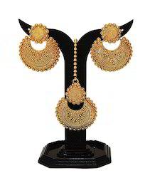 Traditional Golden Earrings & Tikka Set