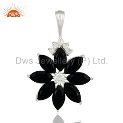 Black Onyx Gemstone Floral 925 Silver Pendant