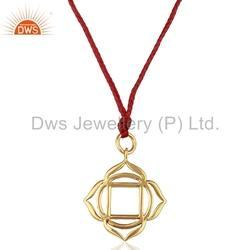 Muladhara Roots Gold Plated Silver Pendant