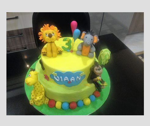 Kids Special Jungle Theme 3d Tiered Jungle Cake Manufacturer From
