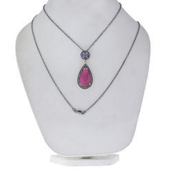 Ruby Tanzanite Pendant Necklace