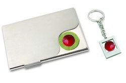 Metal Card Holder with Cricket Ball Keychain