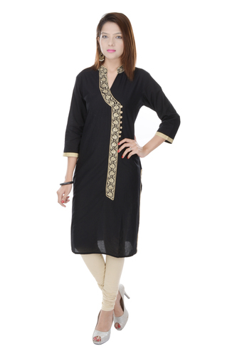 Fab Rajasthan Cotton Embroidered Black Kurti