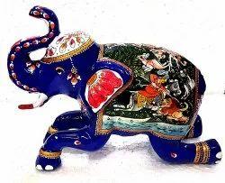 Metal Painted Shikar Elephant